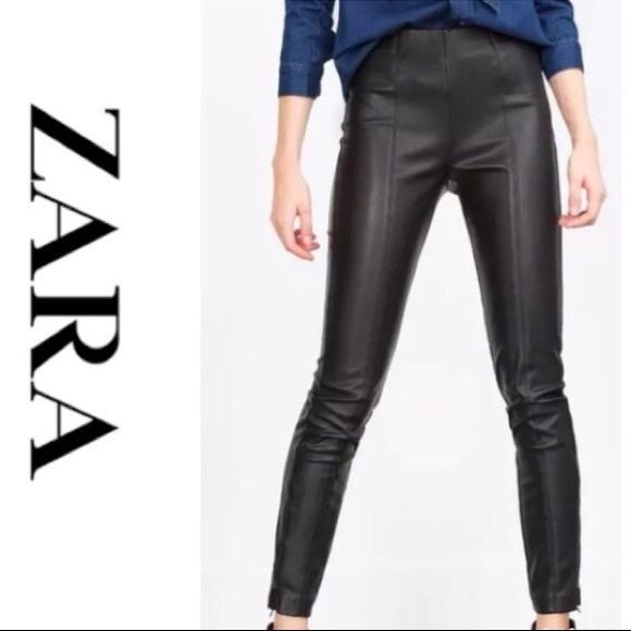 31d26581 Zara Black Faux Leather Leggings w/ Side Zippers